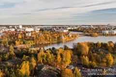 Töölönlahti panoraama Olympiastadionin tornista, Helsinki (HP117)