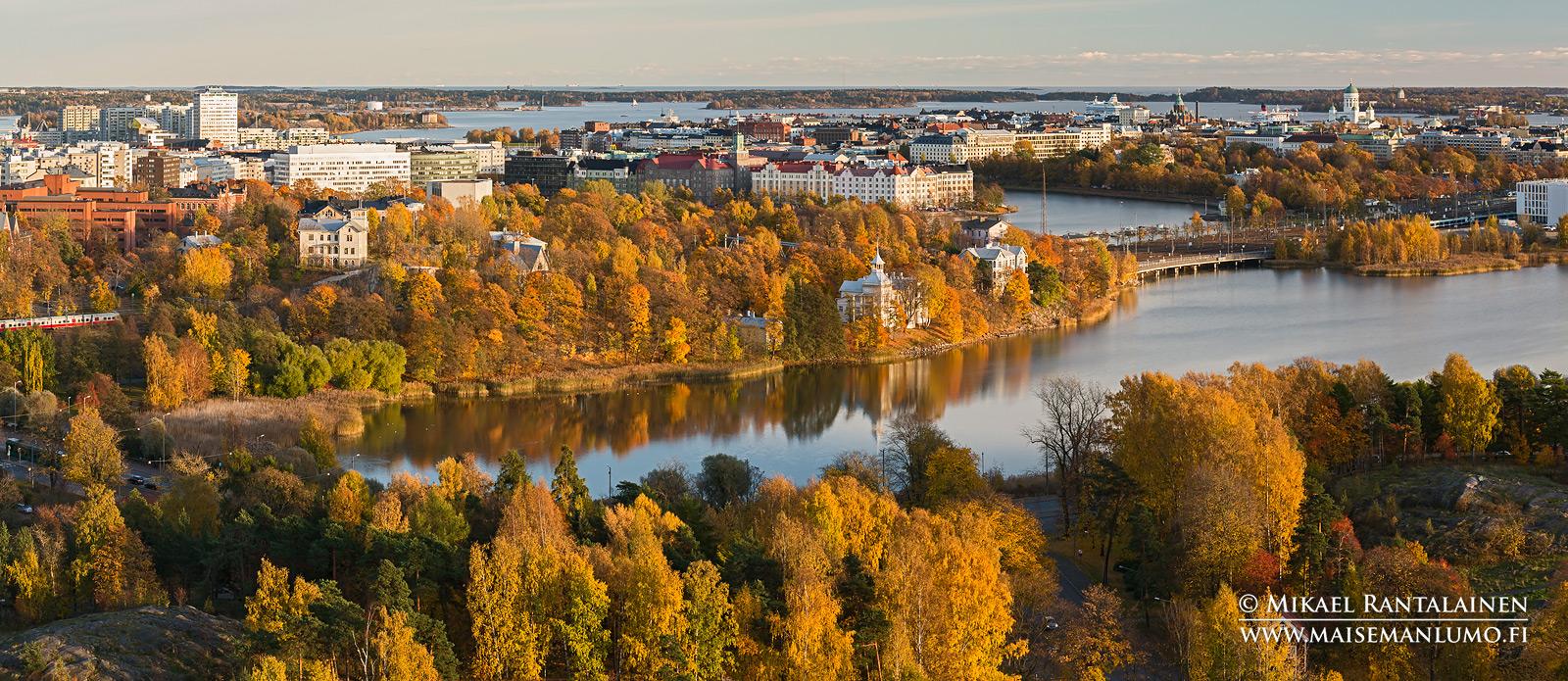 Töölönlahti panoraama Olympiastadionin tornista, Helsinki (HP118)