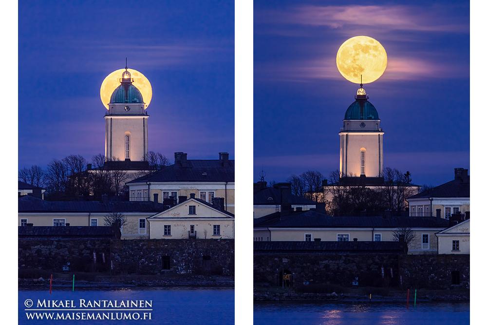 Täysikuu nousee Suomenlinnan kirkon takaa