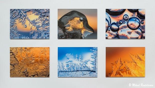 Lähikuvia jäästä, 18x24 cm akryylivalokuvia