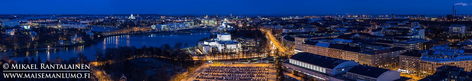 Panoraama Olympiastadionin tornista, Helsinki (viiden vaakakuvan panoraama, kuvattu jalustalta mutta ilman panoraamapäätä)