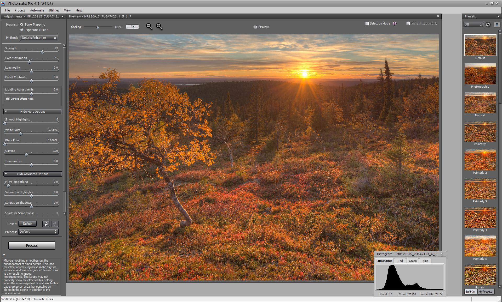 Photomatix-ohjelman tone mapping -säätöikkuna