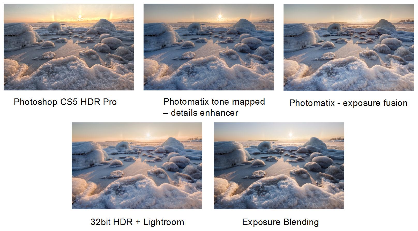 Eri HDR, exposure blending ja exposure fusion -menetelmien vertailua II