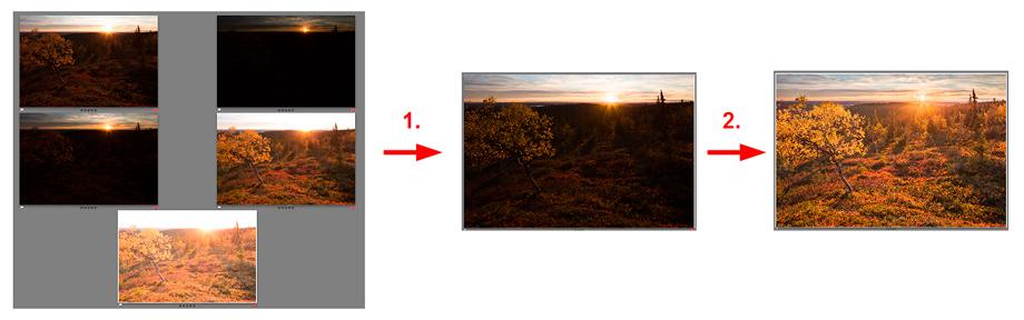 HDR-kuvankäsittelyn vaiheet