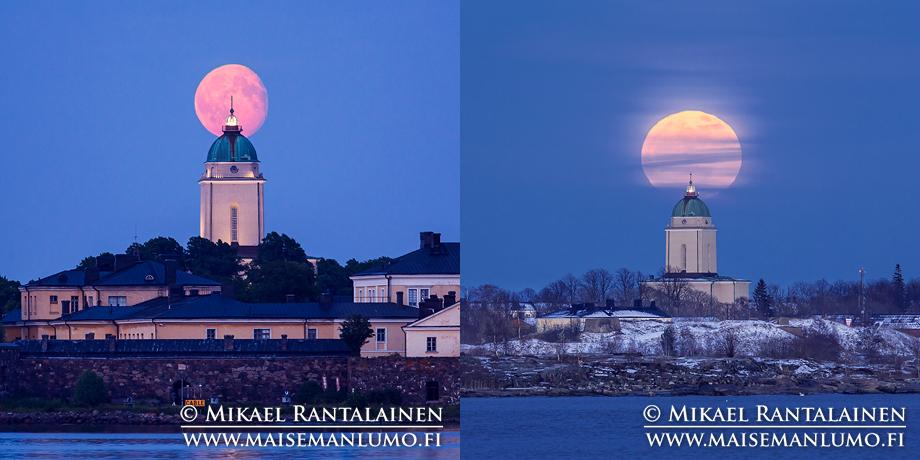 Suomenlinnan kirkko ja kuu Kaivopuistosta ja Hernesaaresta