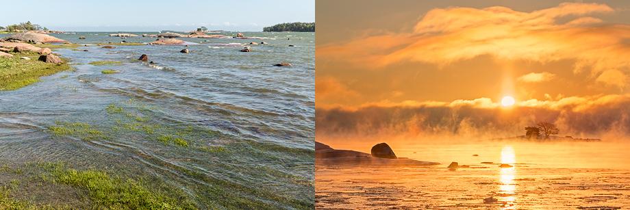 Kaunis kesäpäivä ja talviaamu Vattuniemessä, Lauttasaaressa