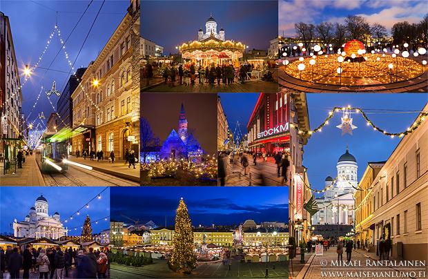 Kaupungin valot ja sininen hetki -valokuvauskurssin kuvauskohteita