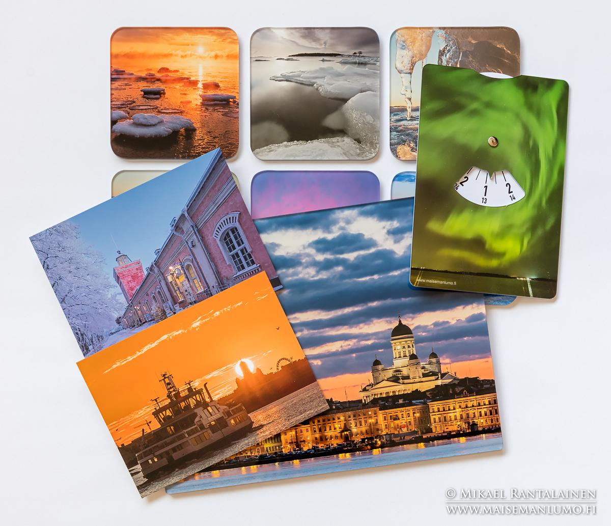 Helsinki postikortteja, lasinalusia, parkkikiekkoja ja tauluja.