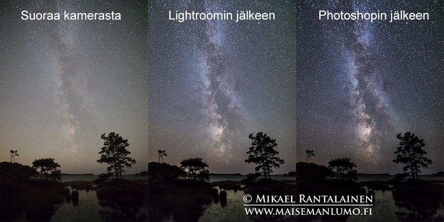 Linkki Linnunrata-kuvan käsittely Lightroomissa ja Photoshopissa -artikkeliin