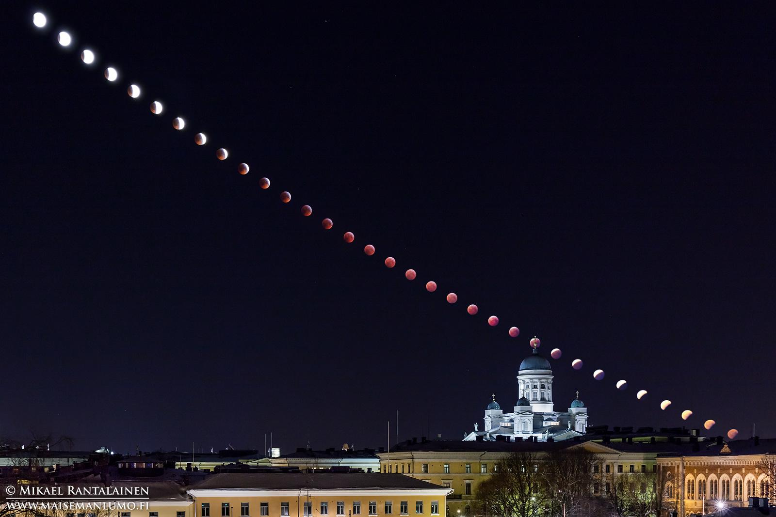 Täydellinen kuunpimennys Helsingissä tammikuussa 2018