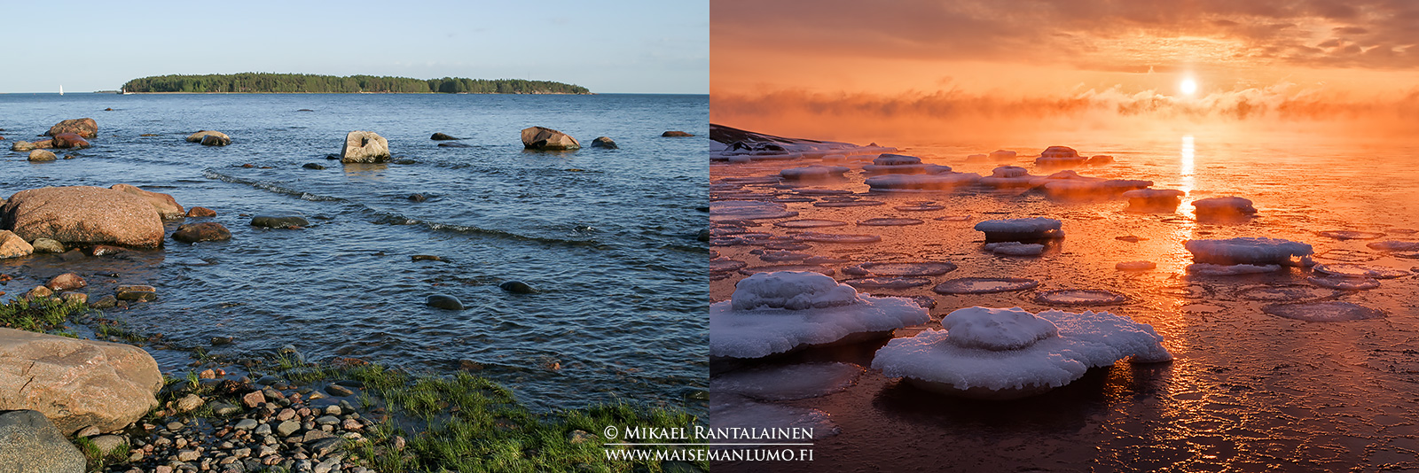 Kesäinen vs. talvinen maisema Lauttasaaressa