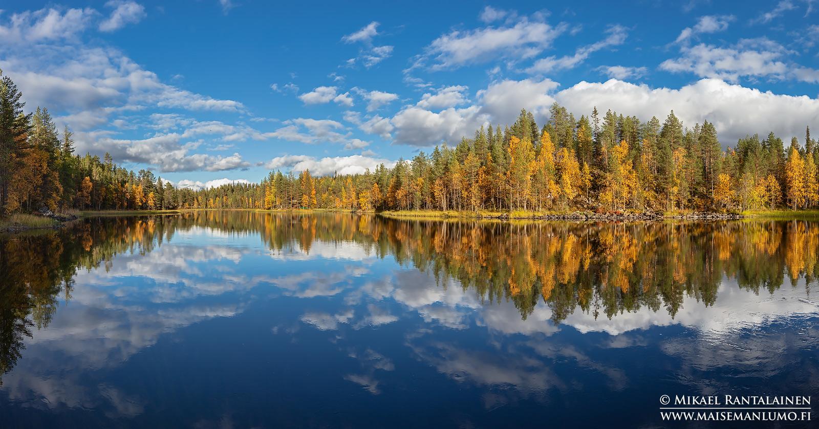 Ruskaheijastus Kitkajoella, Kuusamo (myötävalo)