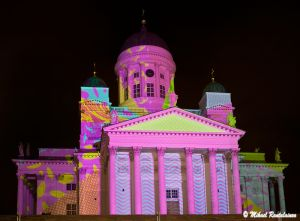 Helsingin Tuomikirkko, valaistus Mural Media ja Agent Pekka