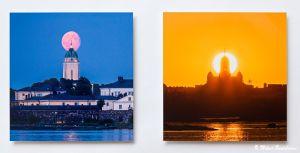 Kirkko ja kuu, Armollinen aurinko, akryylivalokuvat 30x30 cm, 190 euroa kappale