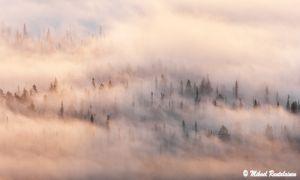 Pallasjärvestä nousevaa sumua, Palkaskero, Pallastunturi