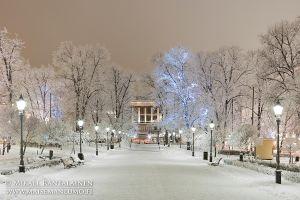 """""""Talven taikaa Espalla"""", Esplanadin puisto, Helsinki, Tammikuu 2010, Akryylivalokuva 50x75 cm vedos #1, 700 €"""